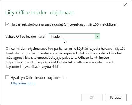 Liity Office Insiderin jäseneksi -valintaikkuna, jossa on Insider-tasovaihtoehto