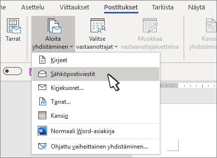 Yhdistämisen aloittaminen sähköpostiviestit valittuna