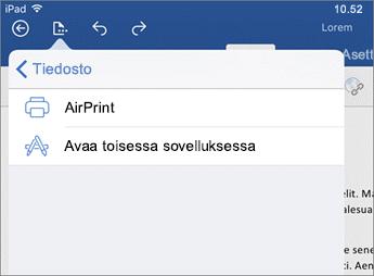 Word for iOS -version tulostusvalintaikkunan avulla voit tulostaa asiakirjan tai avata sen toisessa sovelluksessa.