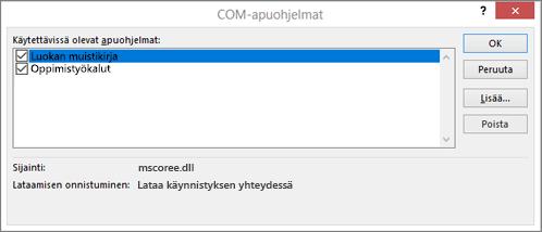 COM-apuohjelmat-ruutu, jossa on Luokan muistikirja ja valintaruutu valittuina. OK-, Peruuta-, Lisää- ja Poista-painikkeet.