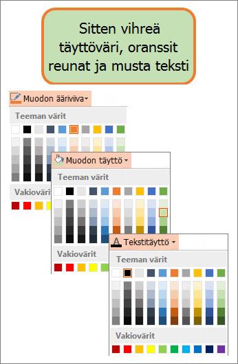 Muoto ja uudet täytön, tekstin ja reunan värit