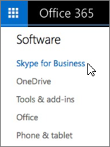 Luettelo Office 365 -ohjelmistoista, joihin kuuluu Skype for Business