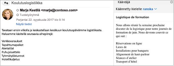 Tämä viesti on käännetty englannista ranskaksi Outlookin kääntäjä-apuohjelman avulla