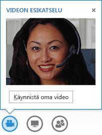 Näyttökuva videon aloittamisesta pikaviestikeskustelusta