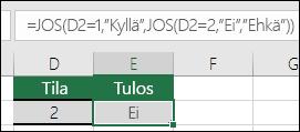 """Käytetään """""""" tyhjän solun tarkistamiseen - Kaava solussa E3 on =JOS(D3="""""""",""""Tyhjä"""",""""Ei tyhjä"""")"""