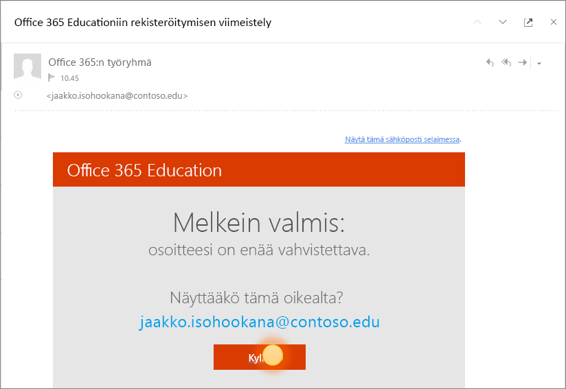Näyttökuva Office 365-kirjautumisen viimeisestä vahvistusnäytöstä.