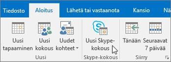 Kokouksen ajoittaminen Skype for Businessissa