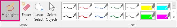 Käsinkirjoitustyökalujen Korostuskynä-painike