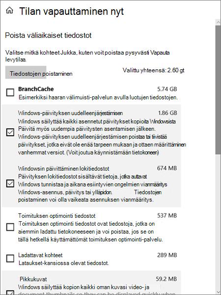 Windows 10-tallennus vaihtoehdot tilapäisten tiedostojen poistamiseen