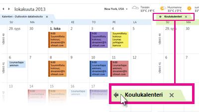 Näytä kerroksissa -komento kalenterin välilehdessä