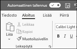 Automaattinen tallennus -vaihtoasetus Officessa