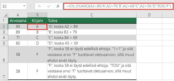 "JOS.JOUKKO-funktio, Arvosanat-esimerkki.  Solun B2 kaava on =JOS.JOUKKO(A2>89,""A"",A2>79,""B"",A2>69,""C"",A2>59,""D"",TOSI,""F"")"