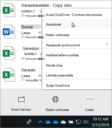 Toiminto keskuksen valikko, joka tulee näkyviin, kun napsautat OneDrive-koulutus kuvaketta
