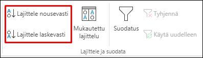 Excelin Lajittele nousevasti- tai laskevasti -painikkeet Tiedot-välilehdellä