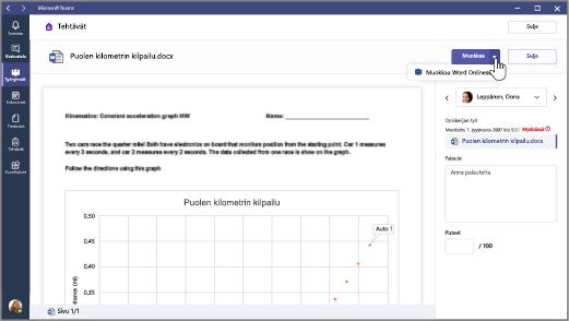 Napsauta Muokkaa-painikkeen vieressä olevaa alanuolta ja valitse sitten Muokkaa Word Onlinessa.