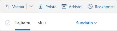 Näyttö kuvassa näkyy kohdistukset ja muut väli lehdet Outlook.com-posti laatikon yläreunassa.