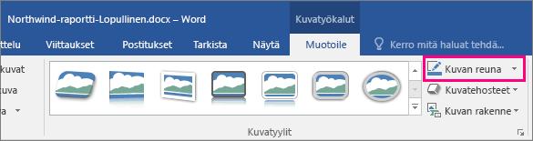 Kuvatyökalut – Muotoile -välilehden Kuvan reuna -vaihtoehto näkyy korostettuna.