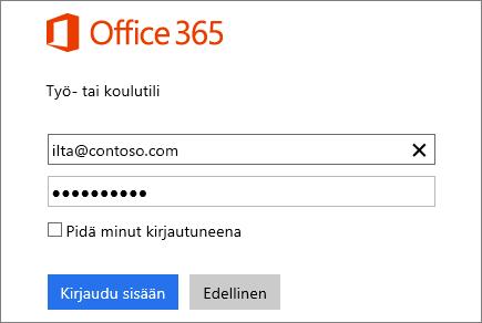 Näyttökuva Office 365:n sisäänkirjautumisruudusta