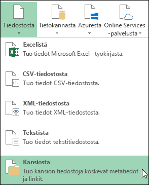 Power Query > Tiedostosta >-Kansiosta -valinnat