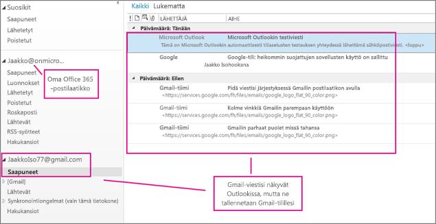 Lisättyäsi Gmail-tilisi, näet Outlookissa kaksi tiliä