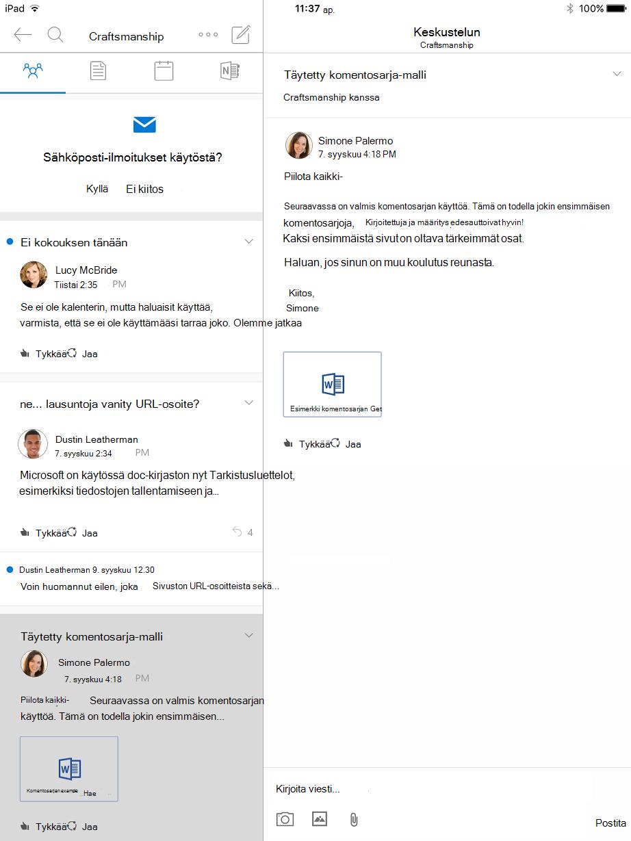 Keskustelu-näkymää ryhmien Outlook for iPad-sovelluksessa