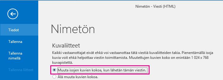 Napsauttamalla tätä asetusta Outlook muuttaa lähetettävien kuvien kokoa.