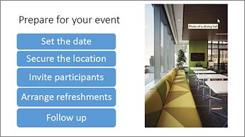 """PowerPoint-dia """"Valmistaudu tapahtumaan"""", joka sisältää graafisen luettelon (""""Aseta päivämäärä"""", """"Varaa paikka"""", """"Kutsu osallistujat"""", """"Hanki virvokkeet"""" ja """"Seuranta"""") sekä kuvan ruokasalista"""