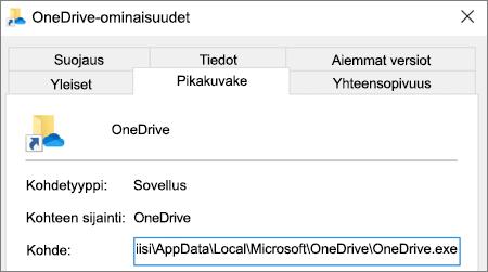 Näyttökuva, jossa näkyy OneDrive-sovelluksen ominaisuusvalikko.