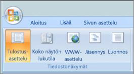 Näyttökuvassa näkyy Asiakirjanäkymät ryhmä, jonka Tulostusasettelu on valittuna. Muut vaihtoehdot ovat koko näytön lukutilassa, WWW-asettelu, jäsennys tai luonnos.