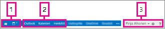 Outlook Web Appin siirtymispalkki
