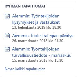 Yammer-ryhmän tapahtumat-osio, jossa näkyy Live-tapahtuma