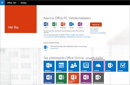 Valitse sovellusten käynnistyksessä OneDrive-ruutu.