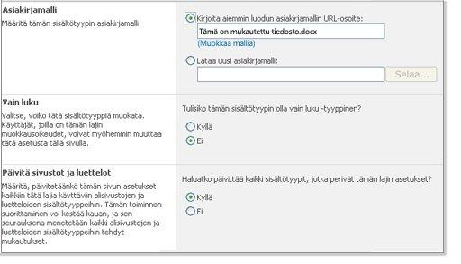 Sivuston sisältötyyppi - Lisäasetukset -ikkuna