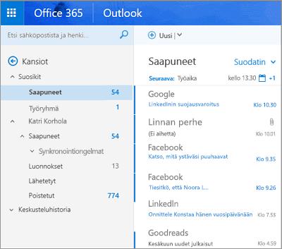 Outlookin verkkoversion ensisijainen näkymä