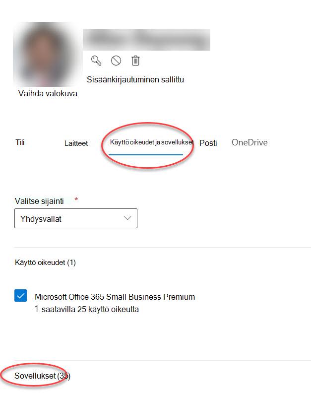 Tili vaihtoehdot-lomake Microsoft 365-hallinta keskuksessa
