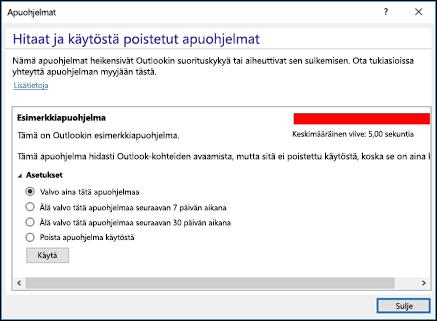 Outlook-apuohjelmien poistaminen käytöstä