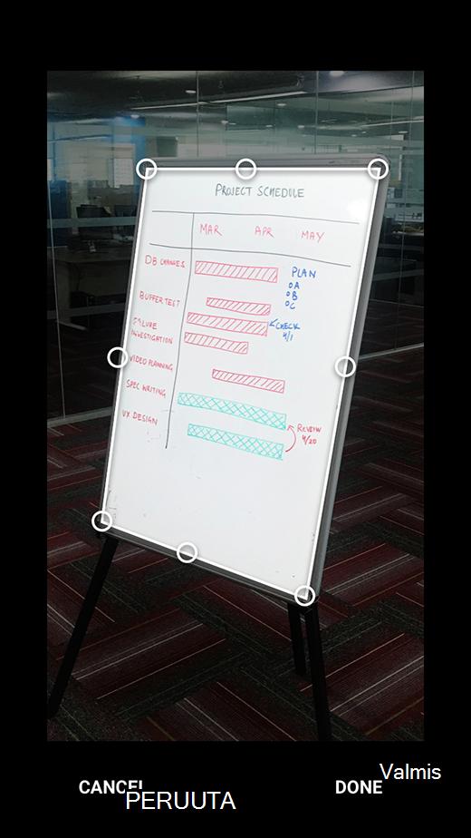 Kuvien rajaus Office Lens for Androidissa