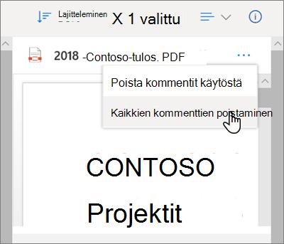 OneDrive-tieto ruutu, jossa Poista kaikki kommentit-vaihto ehto on valittuna avattavasta valikosta
