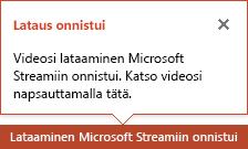 PowerPoint ilmoittaa, kun lataus on valmis