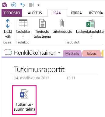 Visio-tiedoston lisääminen sivulle