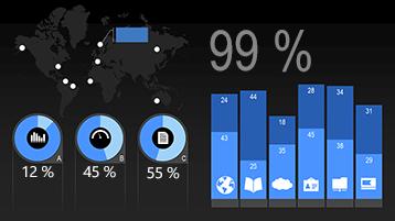 PowerPointin animoidun infograafitilastomallin kaaviotyypit