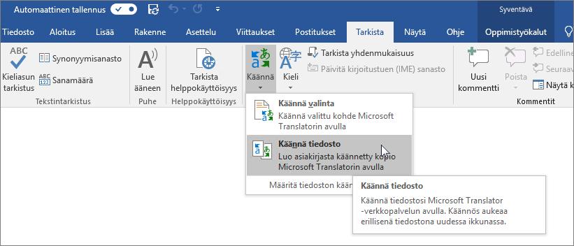 Word-valintanauha, jossa on näkyvissä Käännä asiakirja -asetus