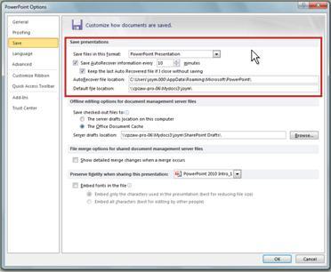 Automaattisen palautuksen ja automaattisen tallennuksen asetusten määrittäminen
