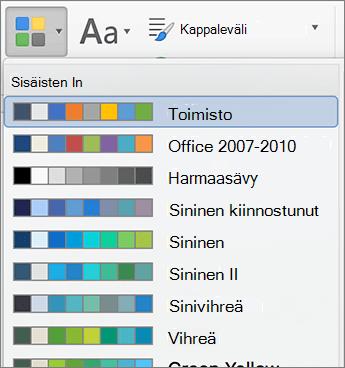 Värin asetukset, kun napsautat väriä-painike