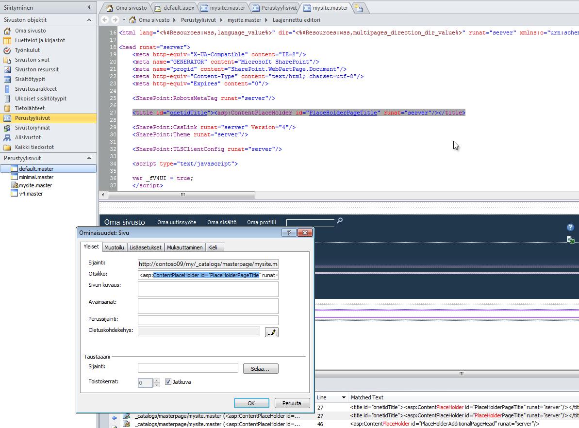 Kun avaat oman sivuston perustyylisivut, voit muokata sekä tiedostoa että sen ominaisuuksia.