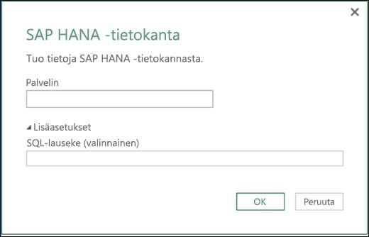 Excelin Power BI SAP HANA Tietokannan tuonnin valintaikkuna