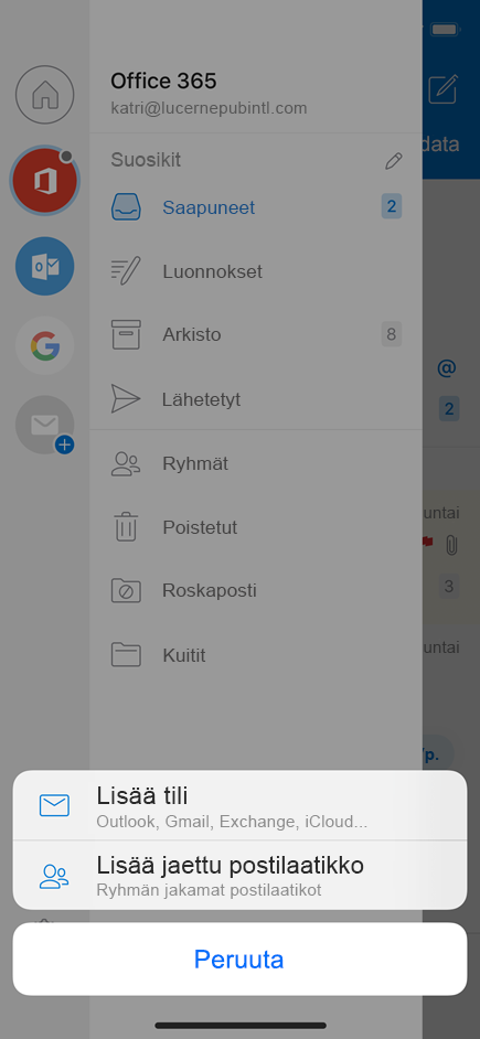 Lisää jaettu postilaatikko Outlookin mobiiliversioon.