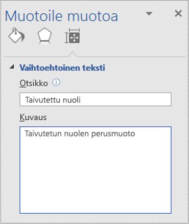 Perusmuodon vaihtoehtoinen teksti -valintaikkuna Visiossa.