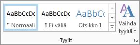 Muotoile tekstiä -valintanauhan Tyylit-ryhmä