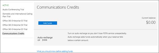 Valitse Skype for Business PSTN kulutus voit lisätä varoja.
